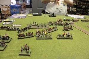 Knowing my 2 regiments of Dragoons are outmatched by his 4 regular cavalry units, I move part of my infantry to help cover.