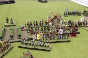 As the cavalry forces bleed each other dry, a furious struggle over the town raged on the left-center.